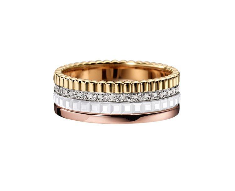 Boucheron Quatre White系列指環,黃金、白金和玫瑰金750材...