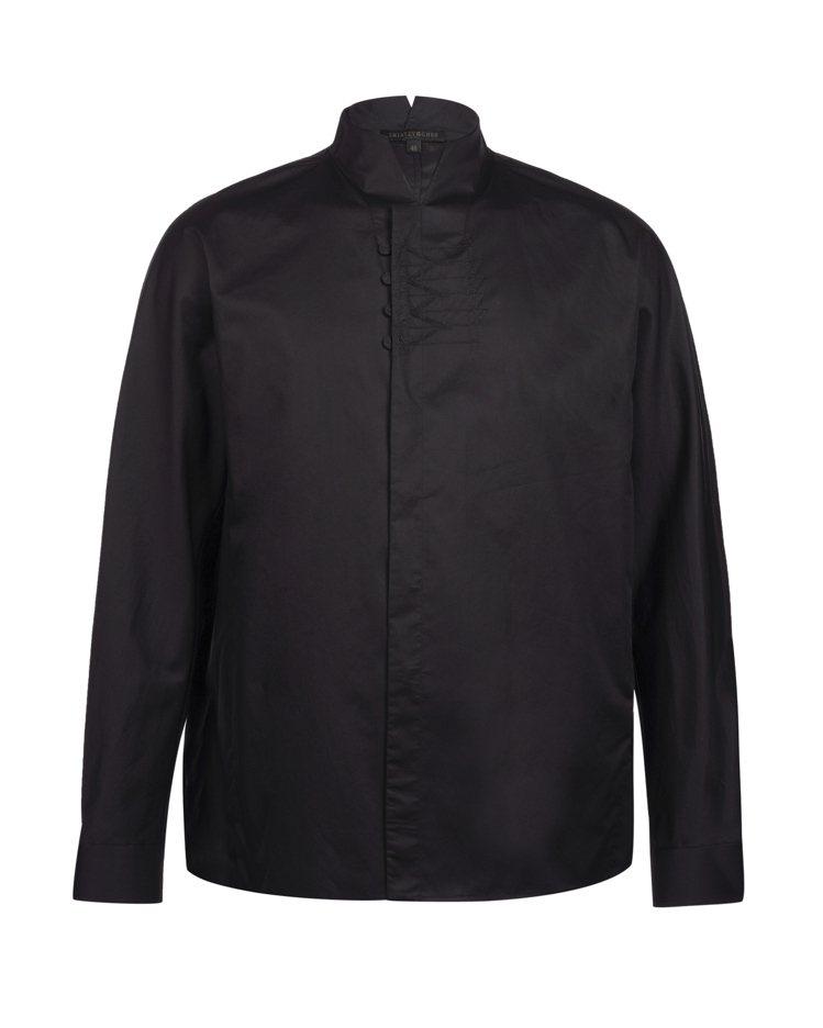 黑色立領白襯衫,15,800元。圖/夏姿提供