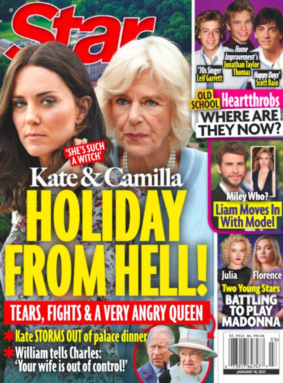 雜誌以封面報導卡蜜拉在耶誕假期折磨凱特,讓佳節有如地獄。圖/摘自Star