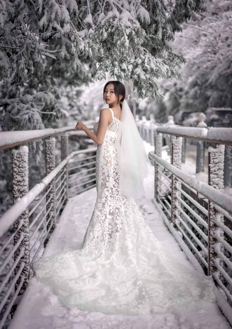 太平山冰天雪地裡拍攝婚紗照,浪漫絕美,網友大讚輕紗薄衣的麻豆勇氣可嘉,雖然天氣冷吱吱,但她表情超自然。圖/廖晉德提供