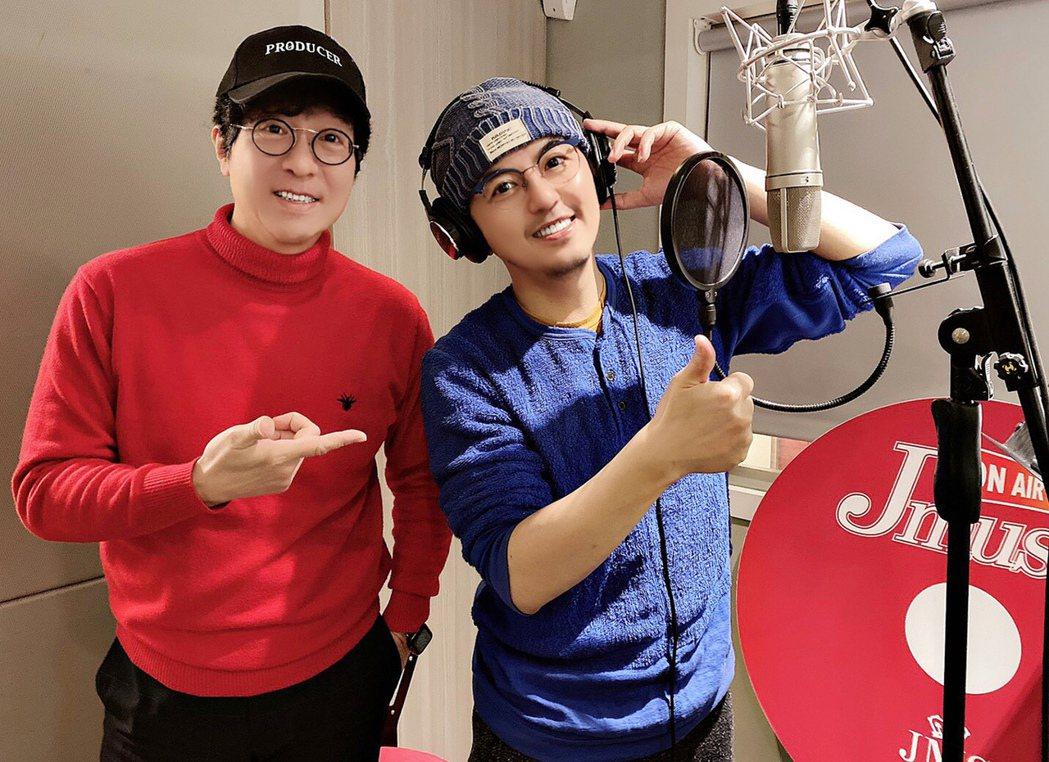 蔣三省(左)邀請黃子佼獻聲。圖/JMS蔣三省音樂工作室提供