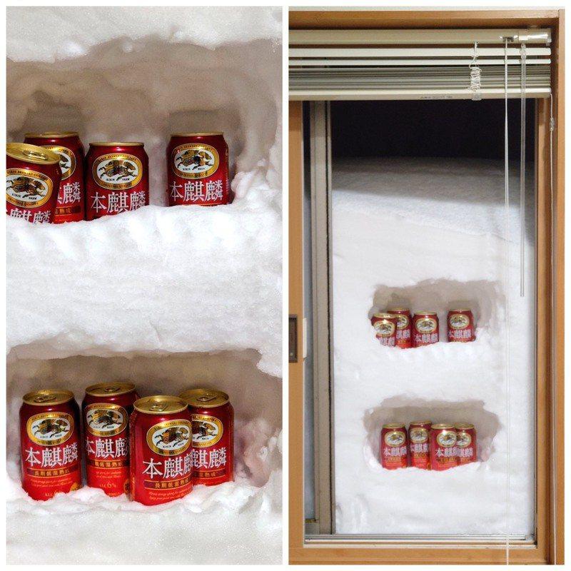 日本降下暴雪,網友製作「天然冰箱」。圖/取自推特
