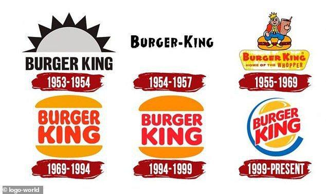 漢堡王歷年LOGO。圖/取自每日郵報