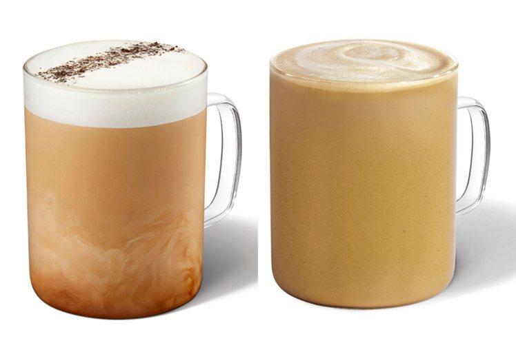 煙燻奶油糖風味那堤大杯售價160元、福吉茶那堤大杯為145元。圖/星巴克提供