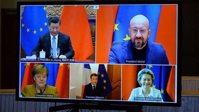 歐盟與中國大陸敲定投資協定,遭批評是送給中國大陸在與美國角力時的籌碼。圖/路透