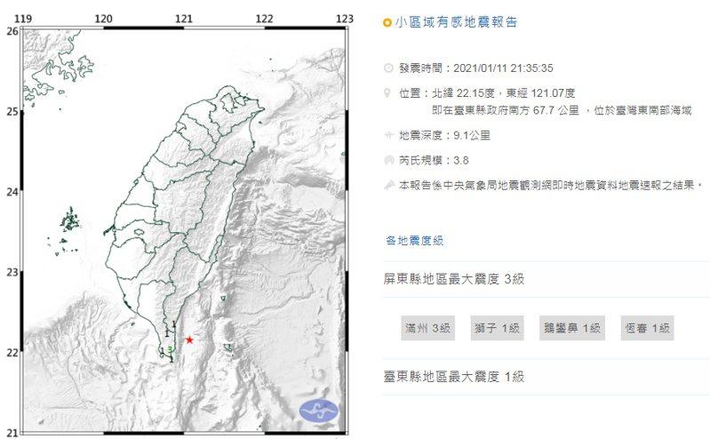 根據中央氣象局最新資訊,今晚9時35分發生芮氏規模3.8地震。圖擷自中央氣象局