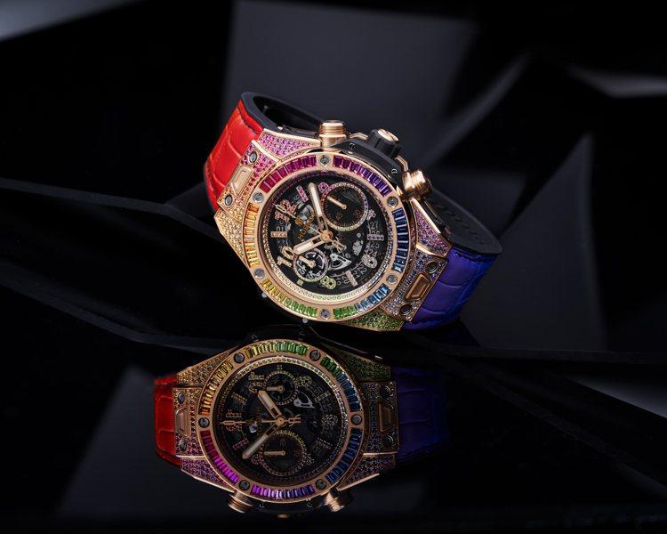HUBLOT Big Bang Unico彩虹寶石計時碼表,284萬5,000元...