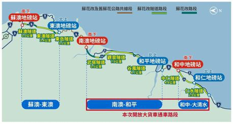 蘇花改南澳至大清水段 1月19日上午9時開放大貨車通行