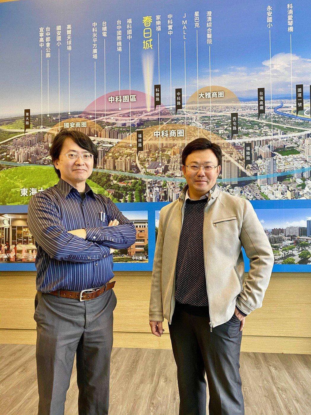 春日成建設總經理溫承翰(右)與建築師賴恩常(左)。記者宋健生/攝影