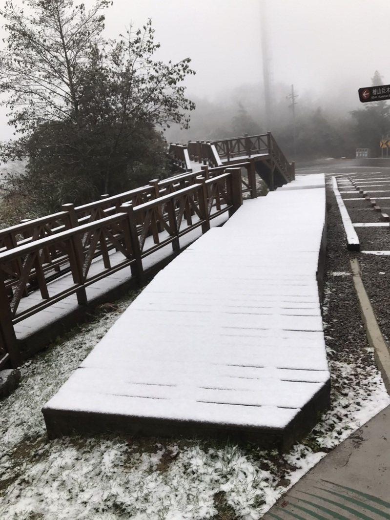 觀霧國家森林遊樂區12日降下今年入冬以來初雪,樂山林道6公里處觀景平台木棧道宛如覆上一層白色糖霜,但積雪不多,陽光露臉後已漸消融。新竹林管處提醒,園區步道、路面雪後溼滑,用路人應注意安全。(林務局新竹林管處提供)