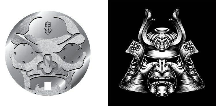 CORUM首次將常與日本武士甲冑結合的「おにOni妖怪面具」重現於表面。圖 / ...