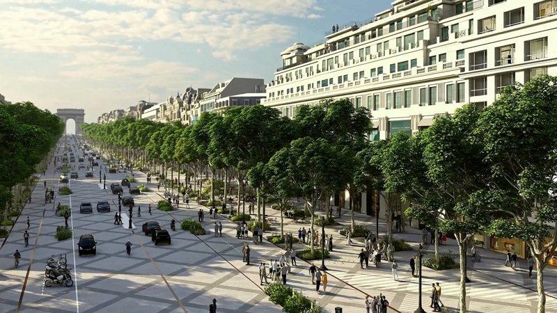 現在的香榭麗舍大道全長1.9公里,兩旁是奢侈品商店與昂貴的咖啡館,租金堪稱世界最高。畫面翻攝:MAILONLINE