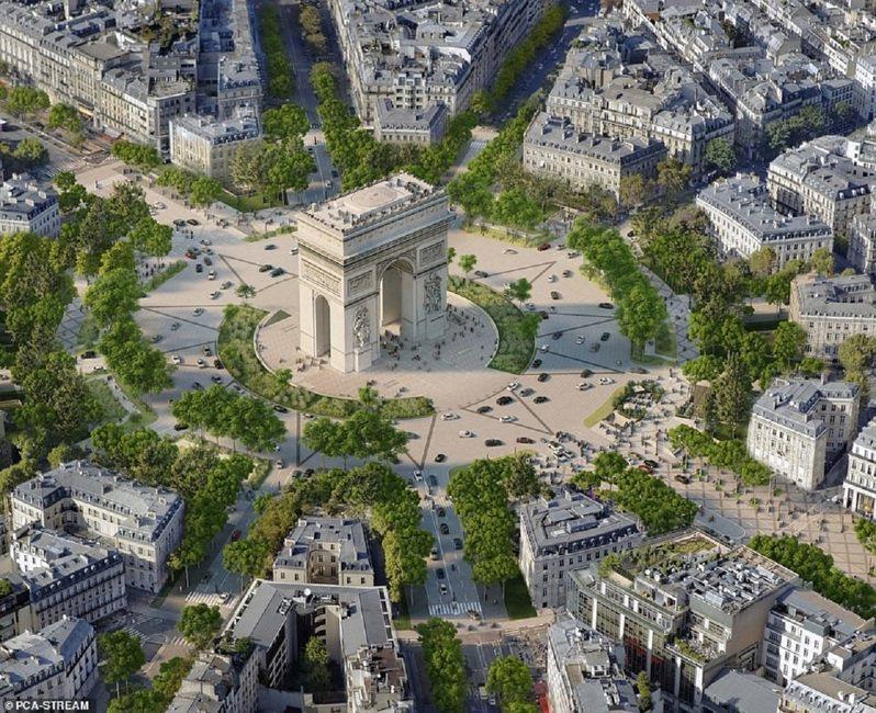 巴黎市長要將香榭大道變成一條充滿林蔭隧道、綠茵空間與行人徒步區的「非凡花園」。畫面翻攝:MAILONLINE