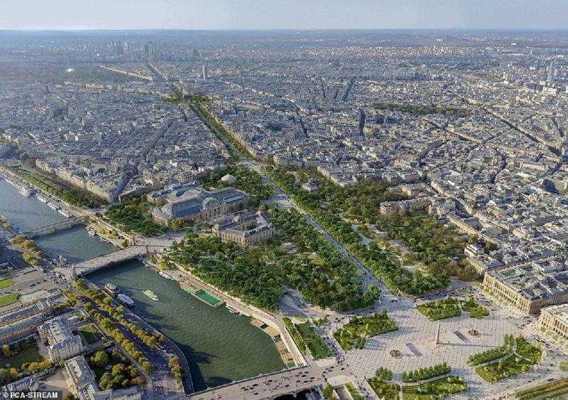 整個計畫全部完工要等到2030年。到時進入車流量將減半,艾菲爾鐵塔周邊地帶也會轉成一個大公園。畫面翻攝:MAILONLINE