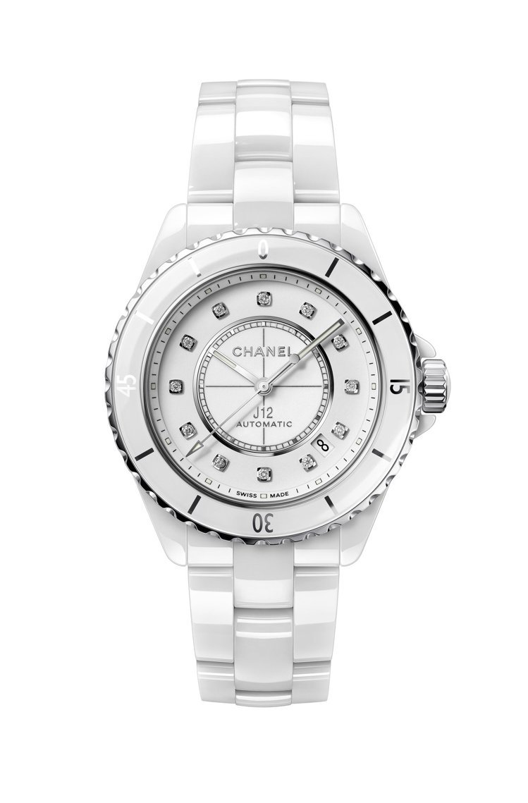 J12腕表搭配點鑽時標,38毫米白色抗磨精密陶瓷搭配精鋼表殼、Caliber 1...