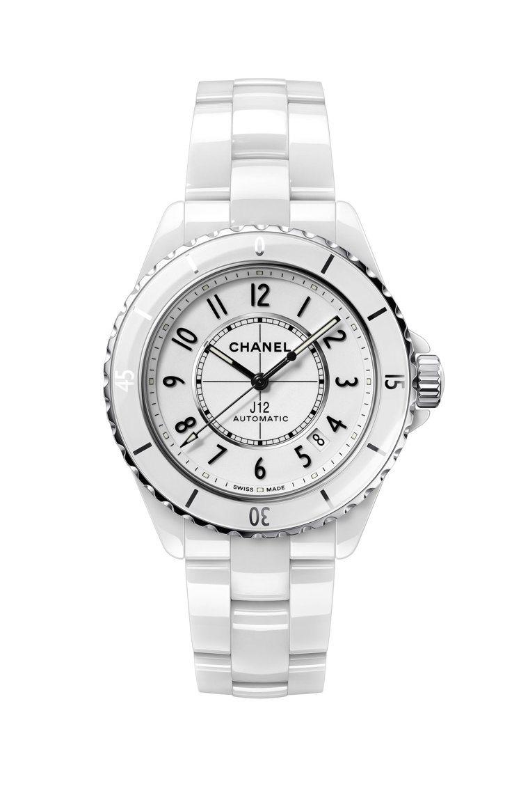 J12腕表,38毫米白色抗磨精密陶瓷搭配精鋼表殼、Caliber 12.1自動上...