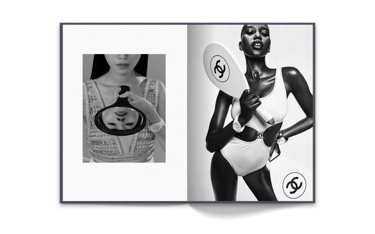 左頁為模特兒Bella Nong配戴搭載Caliber 12.1機芯的J12白色...