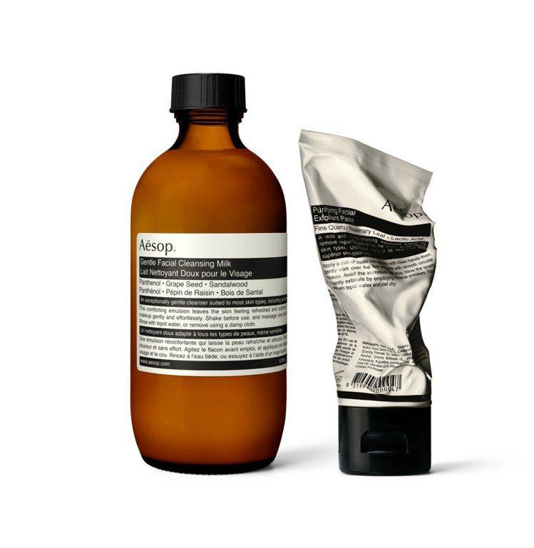 Aesop輕柔潔面乳搭配純淨滋潤去角質霜。圖/Aesop提供