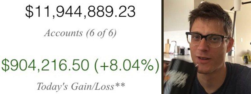 現年39歲的狄伯特(右)宣布退休,在推特上秀出一張總資產高達1200萬美元的證券戶擷圖(左)。擷自狄伯特推特