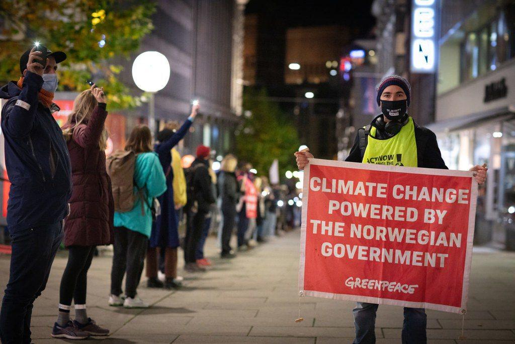 挪威綠色和平和青年組織就政府頒發新的北極石油勘探許可證,向最高法院提起訴訟。 圖...