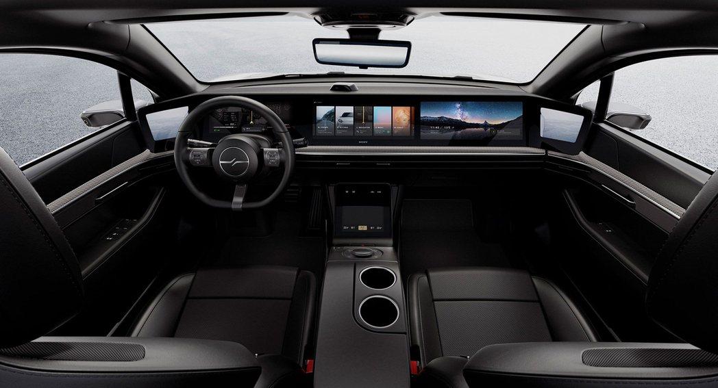 Sony VISION-S的前座螢幕包含電子後視鏡共分為五個區塊。 圖/Sony...