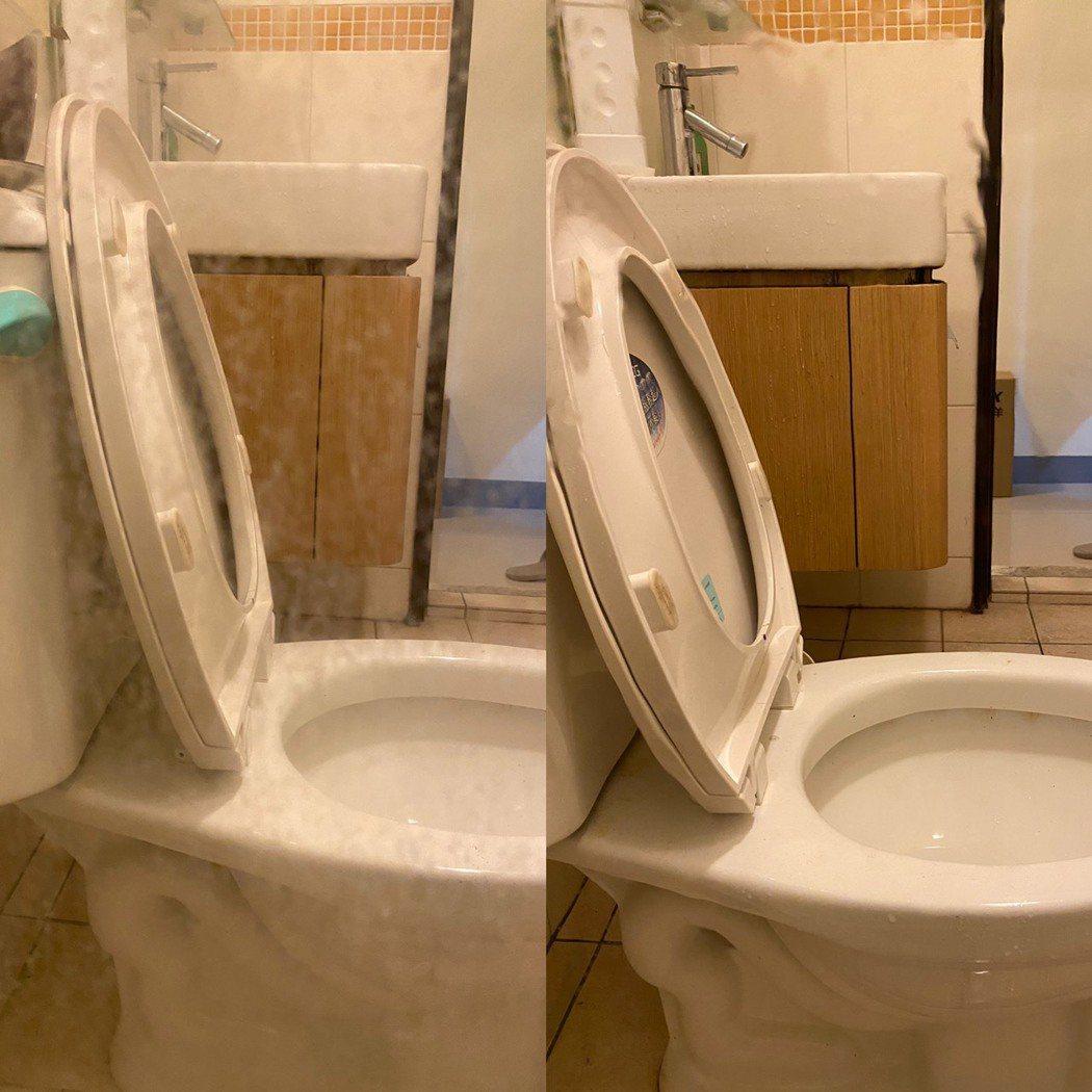 清潔教父噴灑均勻後,再搭配清潔海綿或濕抹布及清水刷洗即可。