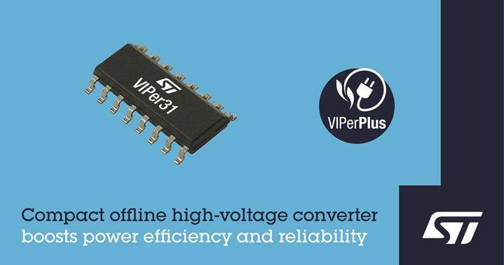 意法半導體VIPerPlus產品家族新增高整合度離線轉換器。 意法半導體/提供