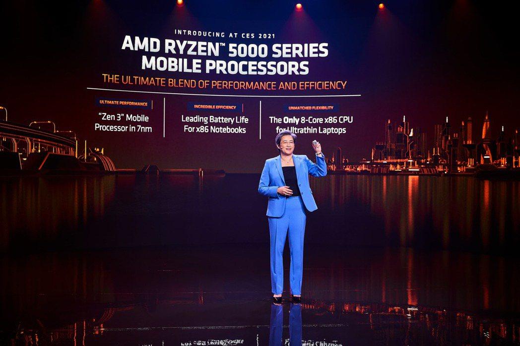 超微AMD總裁暨執行長蘇姿丰在CES 2021發表Ryzen 5000系列行動處...