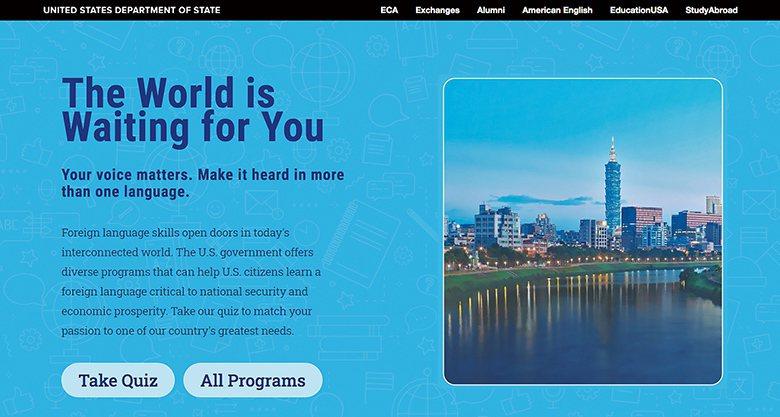 ▲美國政府語言學習網站封面圖。網路擷圖