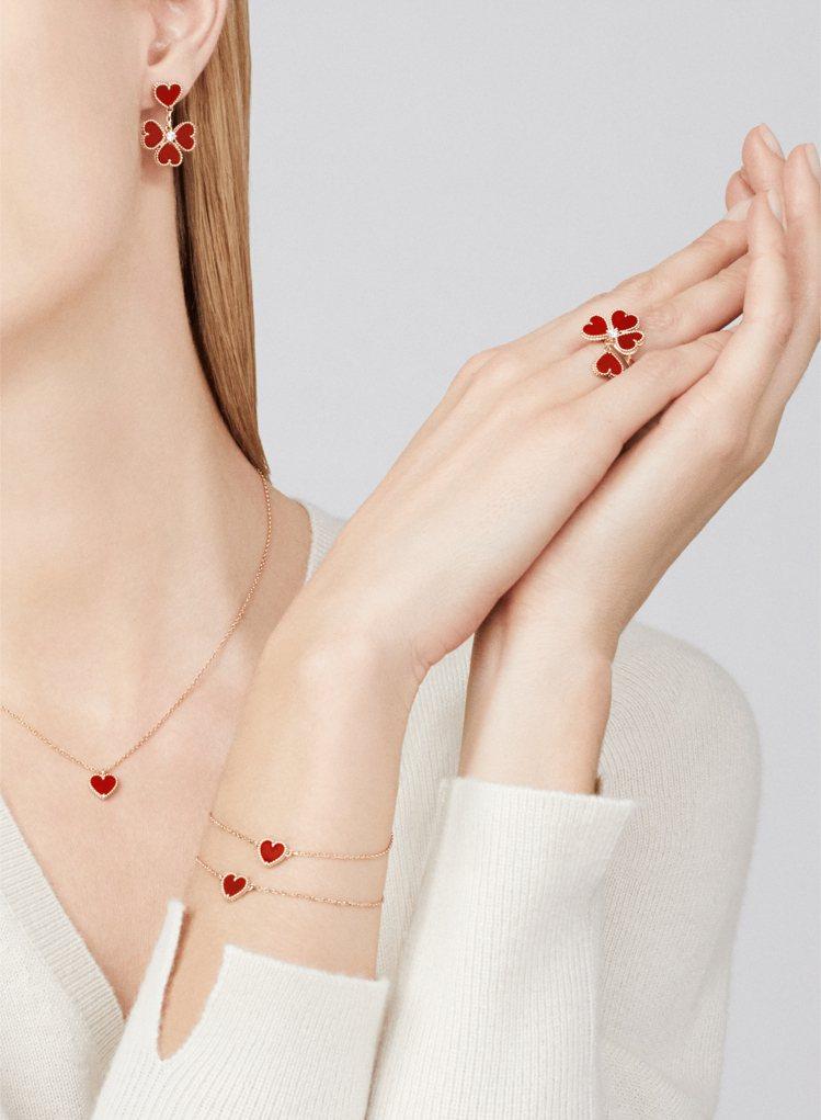 梵克雅寶經典的Alhambra幸運草系列,鑲嵌紅玉隨的作品適合情人節表達心意。圖...