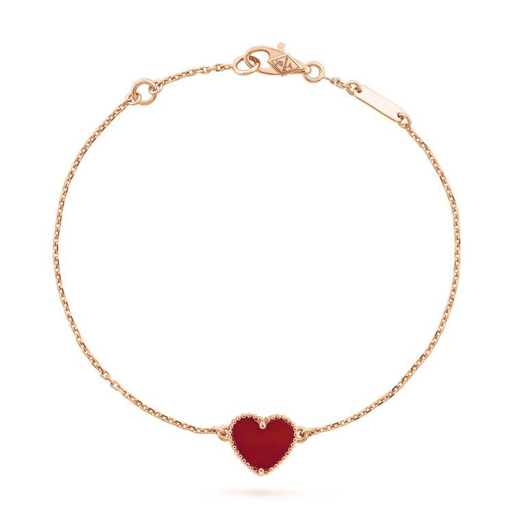 Sweet Alhambra心形手鍊,玫瑰金鑲嵌紅玉髓,43,000元。圖/梵克...