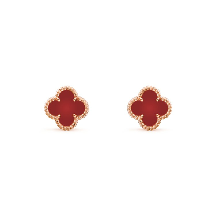 Sweet Alhambra耳環,玫瑰金鑲嵌紅玉髓,75,000元。圖/梵克雅寶...
