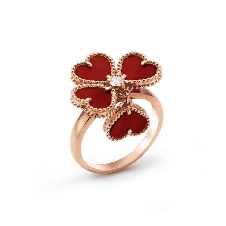 Sweet Alhambra Effeuillage戒指,玫瑰金鑲嵌紅玉髓、圓形...