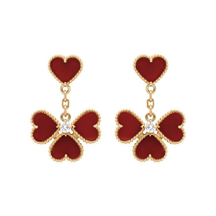 Sweet Alhambra Effeuillage耳環,玫瑰金鑲嵌紅玉髓、圓形...