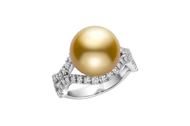 MIKIMOTO Day & Night系列南洋黃金珍珠鑽戒,18K白金鑲嵌鑽石...