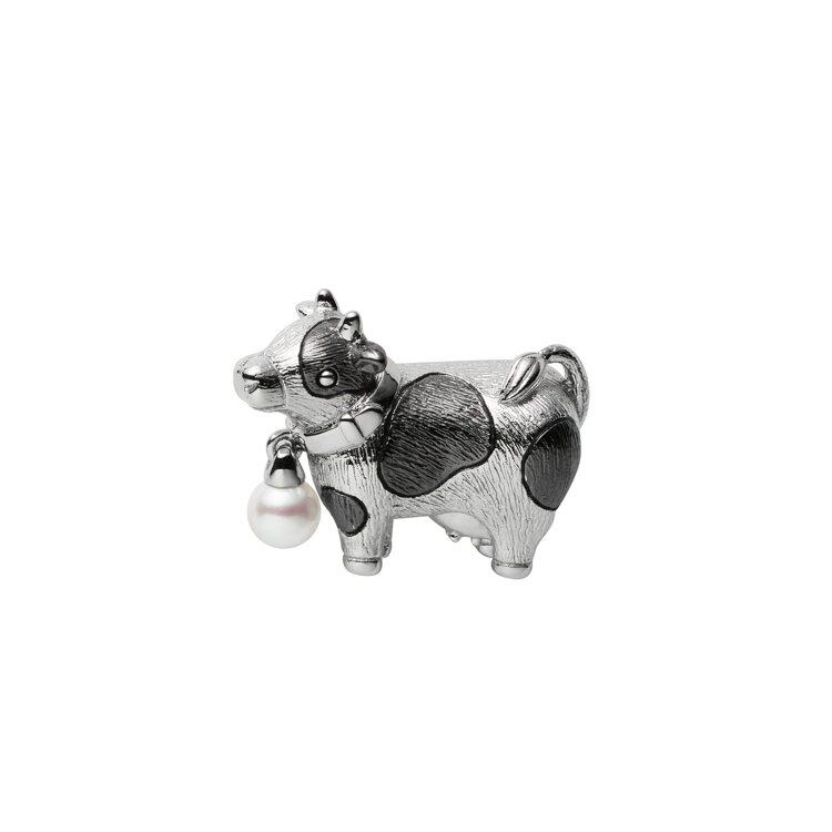 MIKIMOTO乳牛造型胸針,銀製、日本Akoya珍珠(珍珠尺寸約3.75mm)...