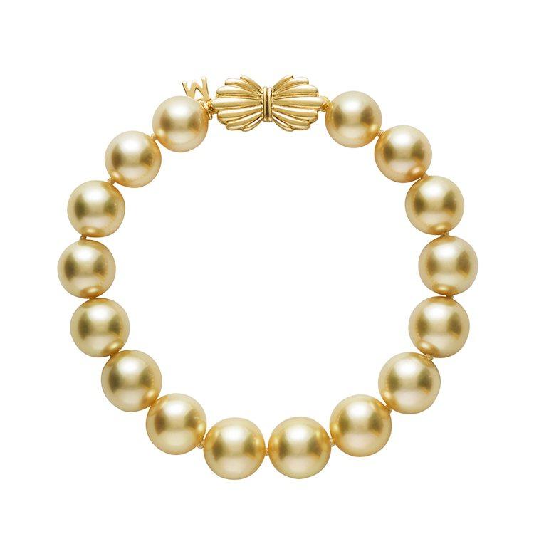 MIKIMOTO南洋黃金珍珠手鍊,18K黃金釦頭、南洋黃金珍珠(珍珠尺寸約10....