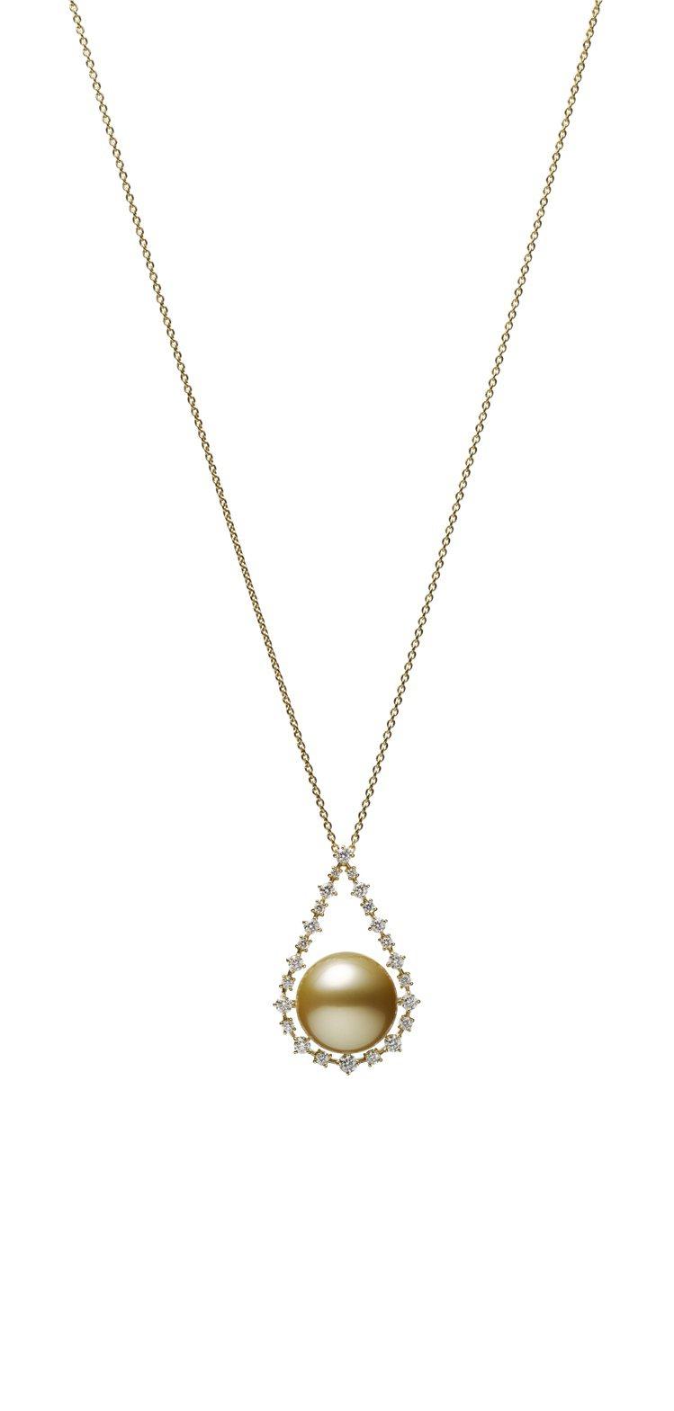 MIKIMOTO南洋黃金珍珠鑽石墜鍊,18K黃金鑲嵌鑽石、南洋黃金珍珠(珍珠尺寸...