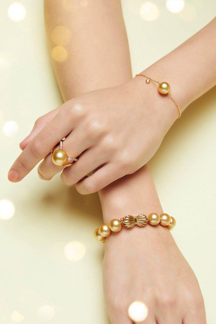 (由上至下)MIKIMOTO南洋黃金珍珠鑽石手鍊,41,700元;M Colle...