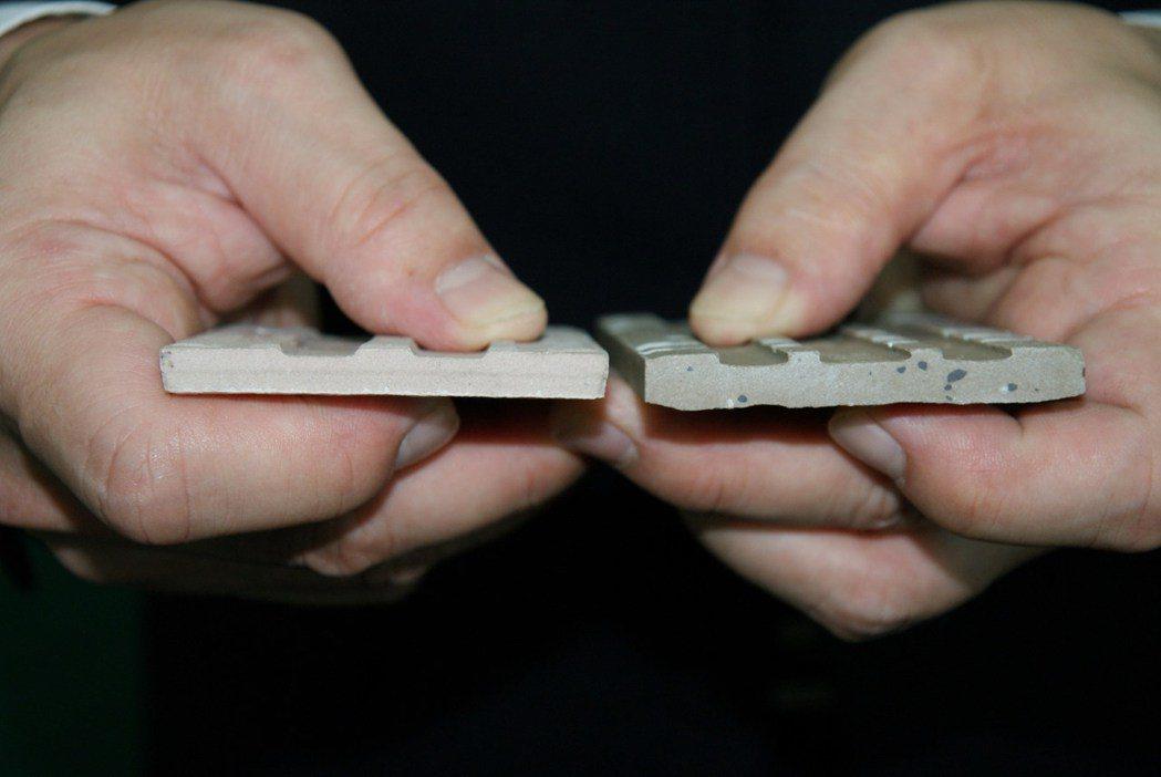 外牆磚有背溝倒勾狀(右)相較無背溝倒勾狀,可以提供更大的抓壁力。圖/冠軍建材股份...