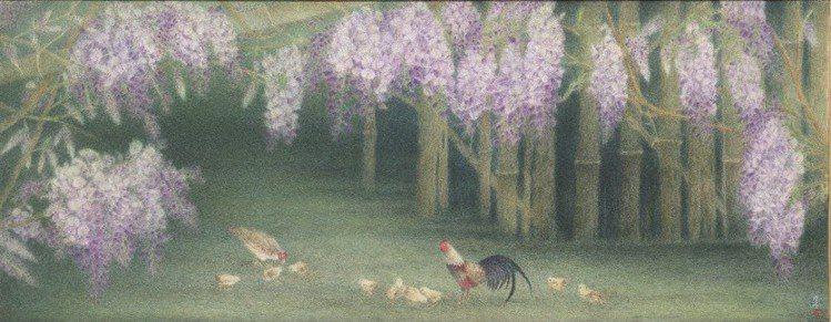 膠彩藝術家簡錦清創作於2019年的「春閒」,透過恬適的農村風情,暗喻繁盛與世代的...