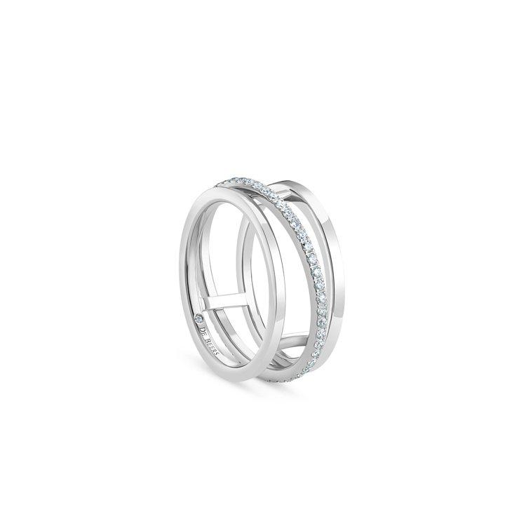 DE BEERS Horizon 18K白金鑽石戒指,11萬3,000元。圖/D...
