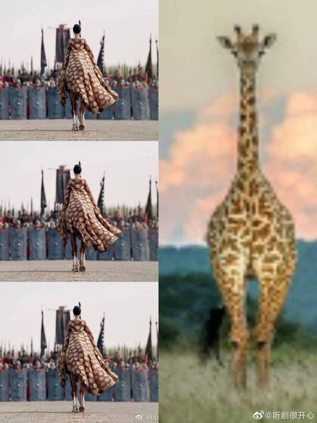 章子怡劇中背影被虧像長頸鹿。圖/摘自微博