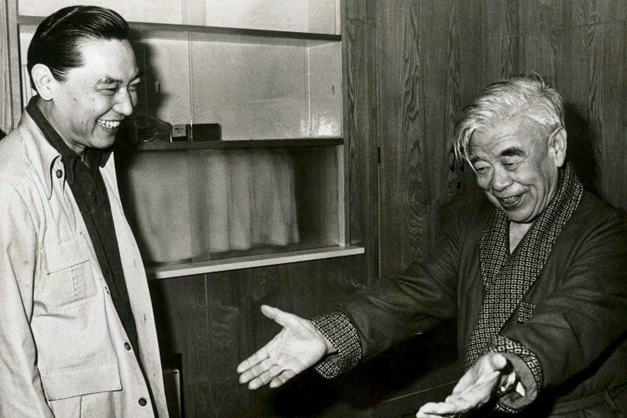 物理學家吳大猷(右)與傅聰,攝於1985年。 圖/聯合報系資料照