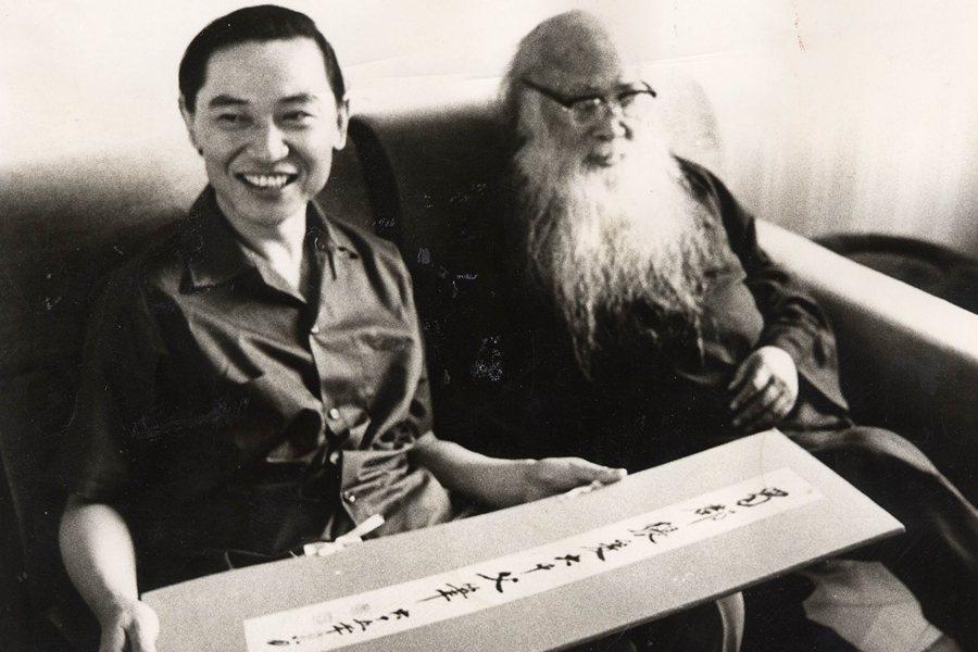 傅聰到摩耶精舍拜訪國畫大師張大千,攝於1982年。 圖/聯合報系資料照