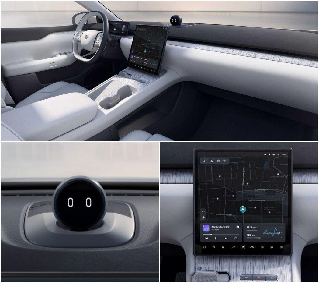 NIO ET7中控台上有12.8吋螢幕與NOMI人工智慧車輛助理。 圖/蔚來汽車...