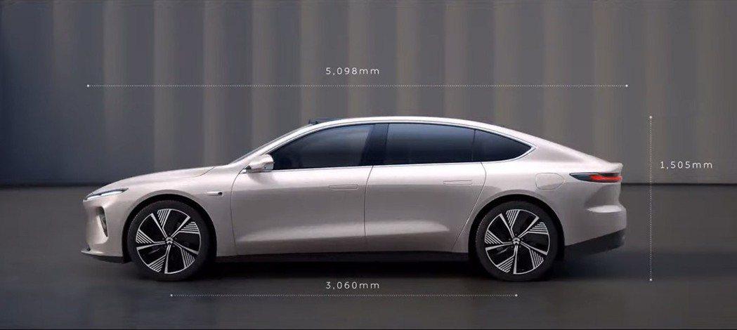 NIO ET7的車身尺碼十分龐大。 圖/蔚來汽車提供