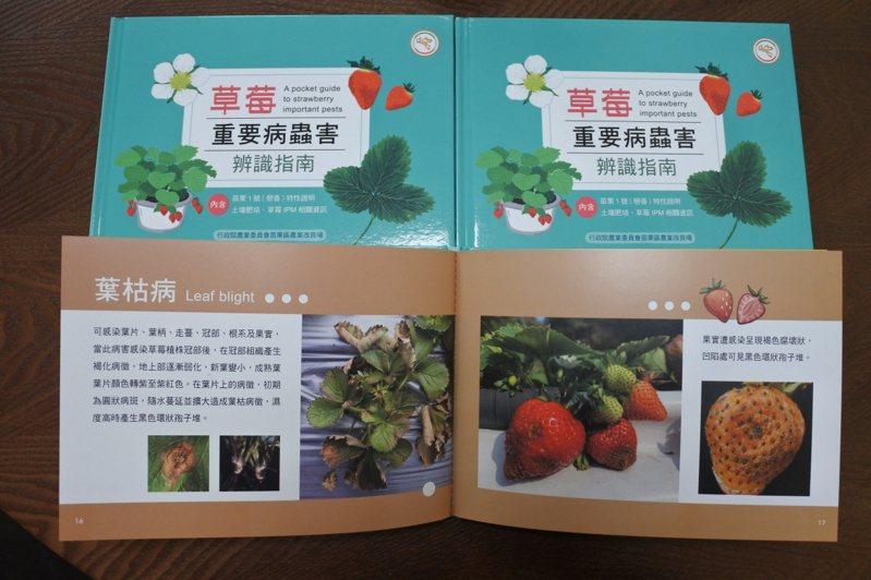 農委會苗栗農改場為協助農民正確診斷草莓病蟲害,發行國內第一本「草莓重要病蟲害辨識指南」圖鑑書。圖/農委會苗栗農改場提供