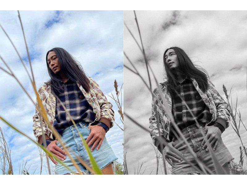 左圖為iPhone拍攝原圖,調色後立刻有了雜誌時尚照的氛圍。圖/Cheng Po Ou Yang提供
