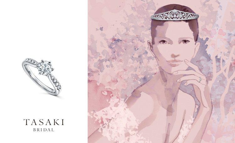 Sarah Singh插畫呈現TASAKI BRIDAL與PIACERE作品。圖...